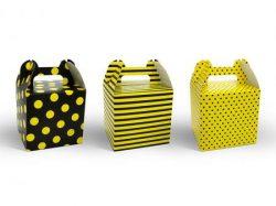 Darčeková krabička mix vzorov,  8,7x8,7x12,5cm, 6ks