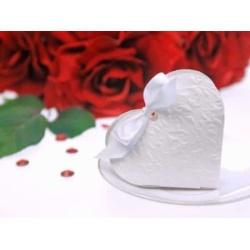 Darčeková krabička Srdce biele, 10x9x3cm, 1ks