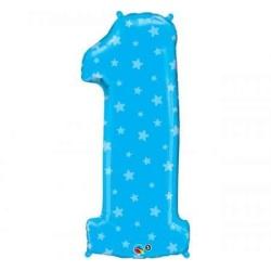 Foliový balón číslo 1 modrý s hviezdičkami, 95cm, 1ks