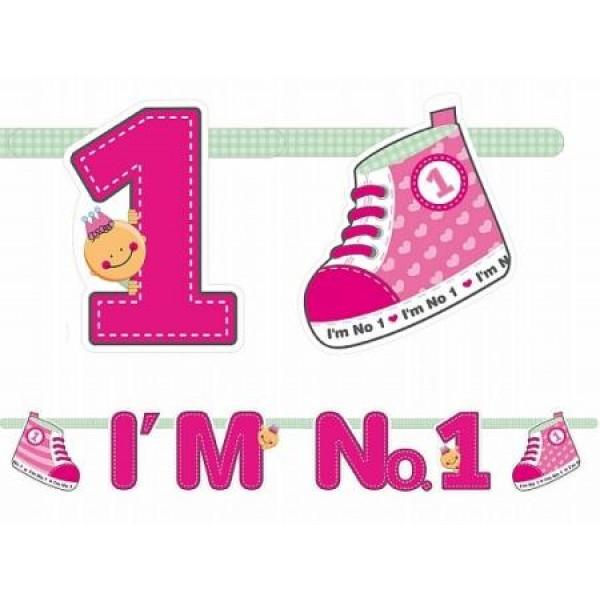 Girlanda 1. narodeniny ružová, 16x110cm, 1ks