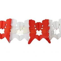 Girlanda papierová pár so srdcom bielo-červená, 400cm, 1ks