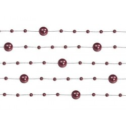 Girlanda perlová bordová, 130cm, 5ks