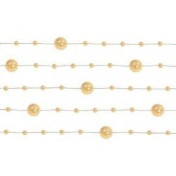 Girlanda perlová zlatá, 130cm, 5ks