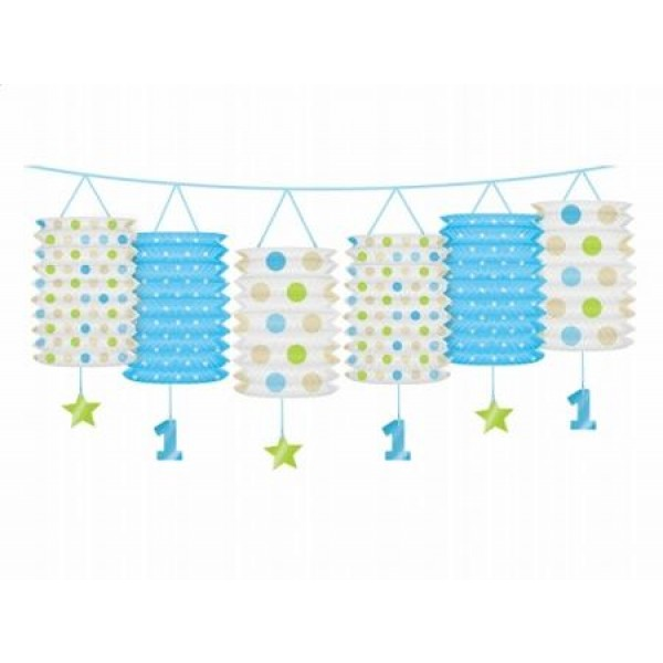 Girlanda s lampiónmi 1. narodeniny modrá, 360cm