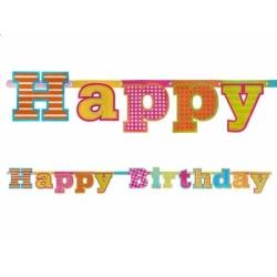Girlanda s nápisom Happy Birthday, 166cm, 1ks