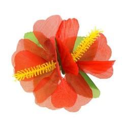 Havajský kvetový štipec do vlasov, červený