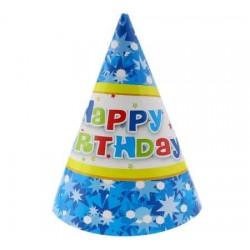 Klobúčik  Happy Birthday  modrý, 6ks