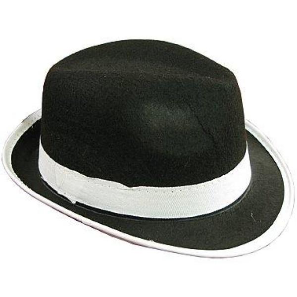 Klobúk Gangster čierny s bielym lemom, veľ. S
