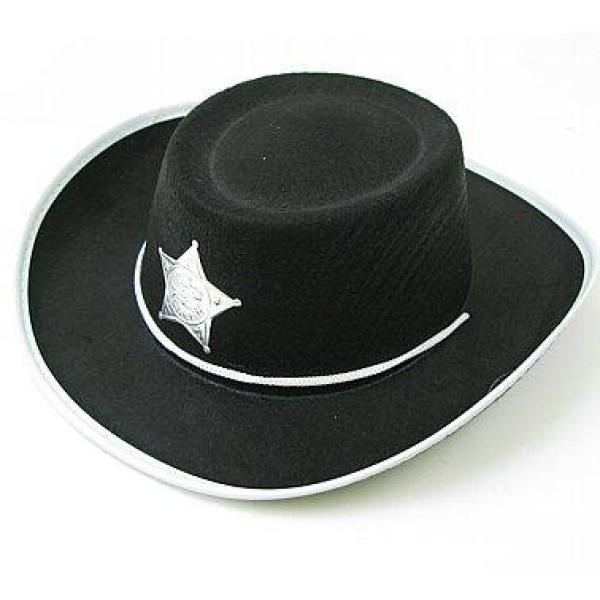 Klobúk kovboj s hviezdou, čierny, veľkosť S