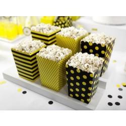 Krabička na popcorn mix vzorov, 7.5x7.5x12.5cm, 6ks