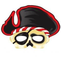 Maska piráta s klobúkom, papierová, 6ks