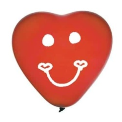 Nafukovacie balóny srdce - úsmev, červené, 3ks