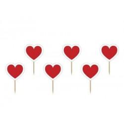 Napichovadlo menovka červené srdce, 100mm, 6ks