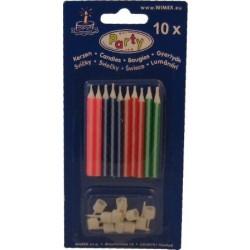 Narodeninové sviečky so stojančekom, 60mm, 10ks