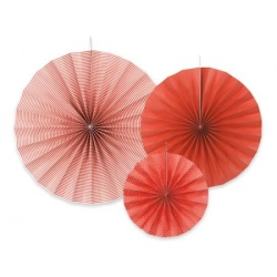 Papierová dekorácia Rozety červené, sada 3ks
