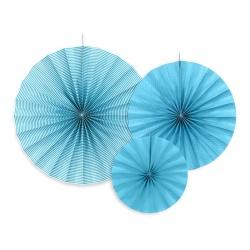 Papierová dekorácia Rozety modré, sada 3ks