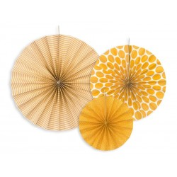 Papierová dekorácia Rozety oranžové, sada 3ks