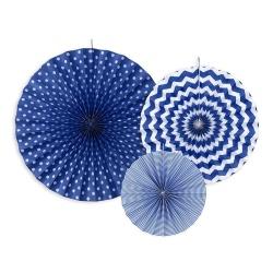 Papierová dekorácia Rozety tmavo modré, sada 3ks