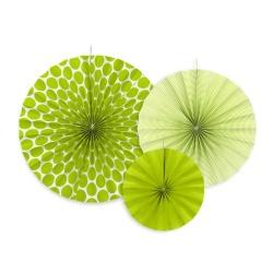 Papierová dekorácia Rozety zelené, sada 3ks
