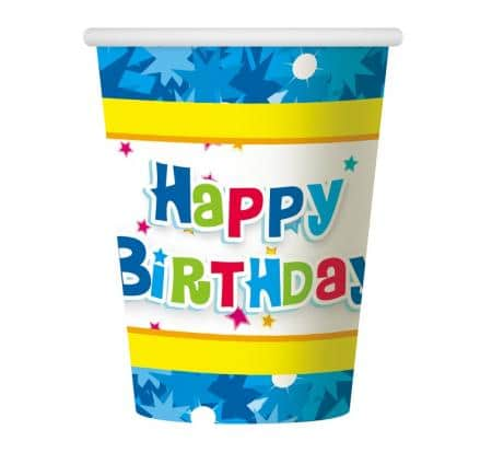 Papierové poháre Happy Birthday modré, 6ks