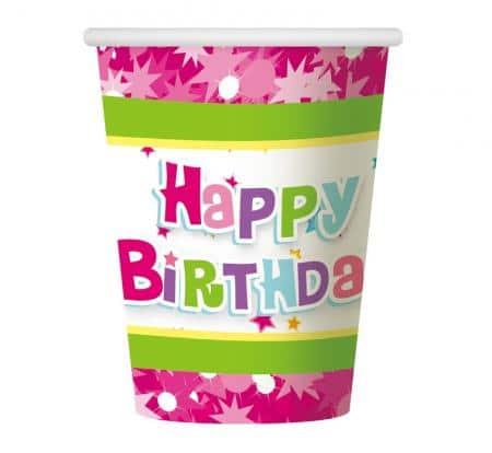Papierové poháre Happy Birthday ružové, 270ml, 6ks