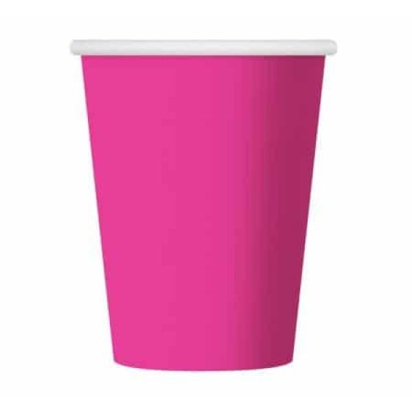 Papierové poháre ružové, 270ml, 6ks