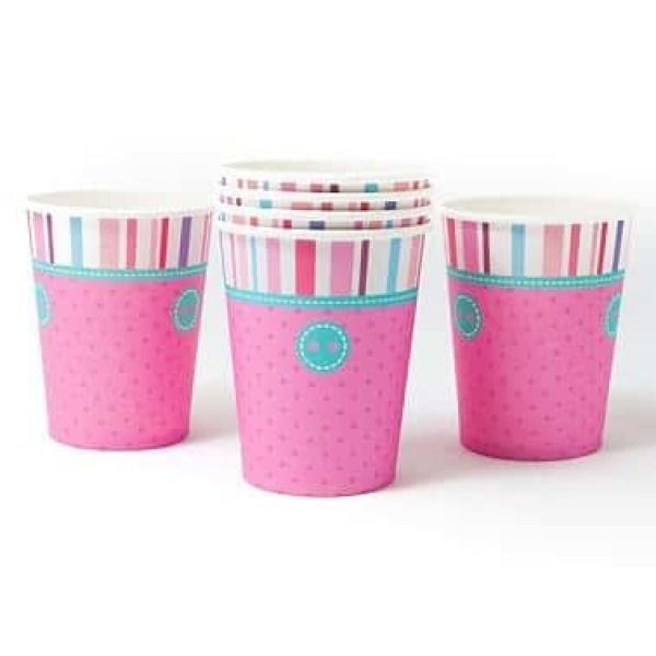 Papierové poháre ružové bodky, 270ml, 6ks
