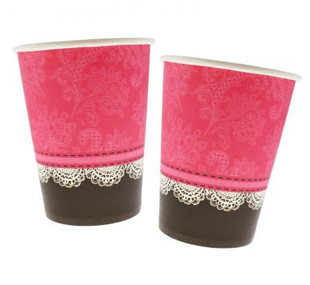 Papierové poháre s čipkou, 270ml, 6ks