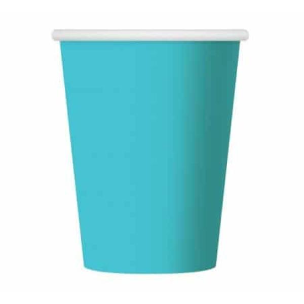Papierové poháre tyrkysové, 270ml, 6ks