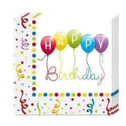 Papierové servítky Happy Birthday, 33x33cm, 20ks