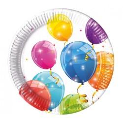 Papierové taniere Balóny, 23cm, 8ks