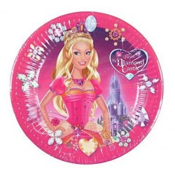 Papierové taniere Barbie DIAMOND Castle, 23cm, 10ks