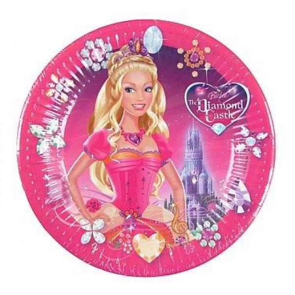 Papierové taniere Barbie DIAMOND Castle, 23cm, 10ks