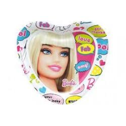 Papierové taniere Barbie love, srdce, 23cm, 8ks
