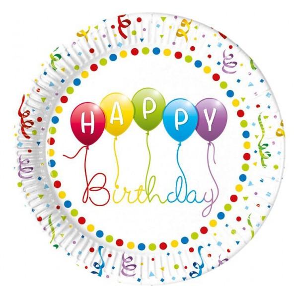 Papierové taniere Happy Birthday, 23cm, 8ks