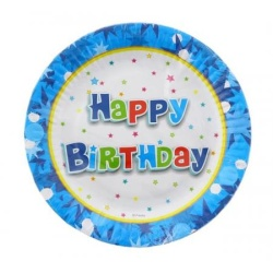 Papierové taniere Happy Birthday modrý, 18cm, 6ks