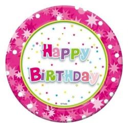 Papierové taniere Happy Birthday ružový, 18cm, 6ks