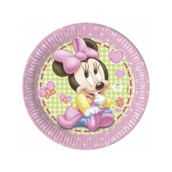 Papierové taniere Minie Baby GIRL, 23cm, 8ks