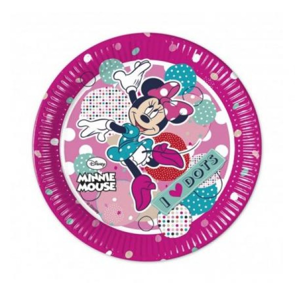 Papierové taniere Minnie Mouse Dots, 20cm, 8ks