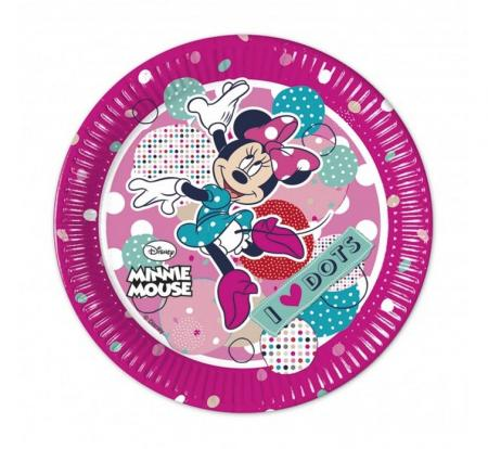 Papierové taniere Minnie Mouse Dots, 20cm, 8ks