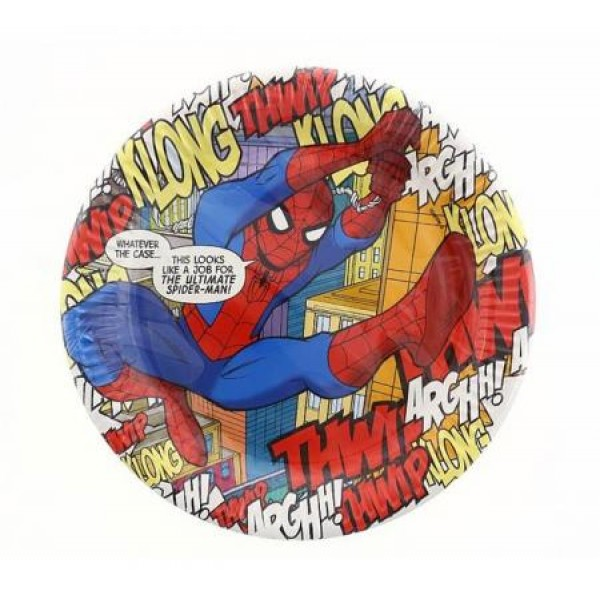 Papierové taniere Spiderman Art, 23cm, 8ks