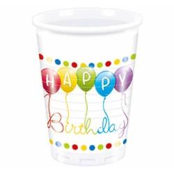Plastové poháre Happy Birthday, 8ks
