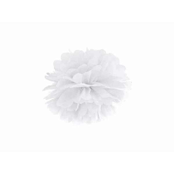 POM POM papierový tissue biely, 25cm