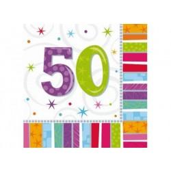 Servítky 50. narodeniny, 33x33cm, 16ks