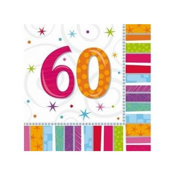 Servítky 60. narodeniny, 33x33cm, 16ks