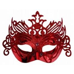 Škraboška červená, maska s ornamentom na párty, 1ks