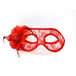 Škraboška červená s ružou, maska na párty, 1ks