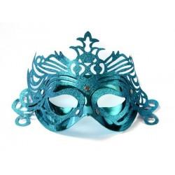 Škraboška tyrkysová, maska s ornamentom na párty, 1ks