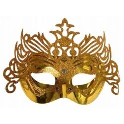 Škraboška zlatá, maska s ornamentom na párty, 1ks