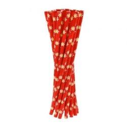 Slamky papierové margaretky červené, 6x197mm, 24ks